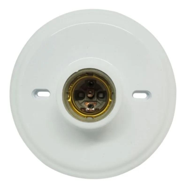 Plafon Plástico Branco Soquete E-27 Porcelana Blister