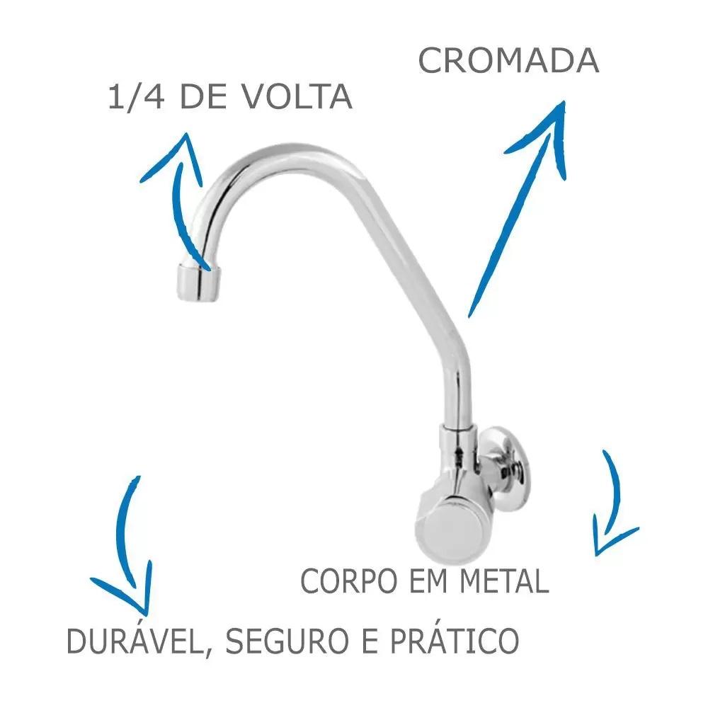 Torneira de Parede Cozinha Bica Móvel Ved. - MVS 1/4 de volta 1/2 ou 3/4