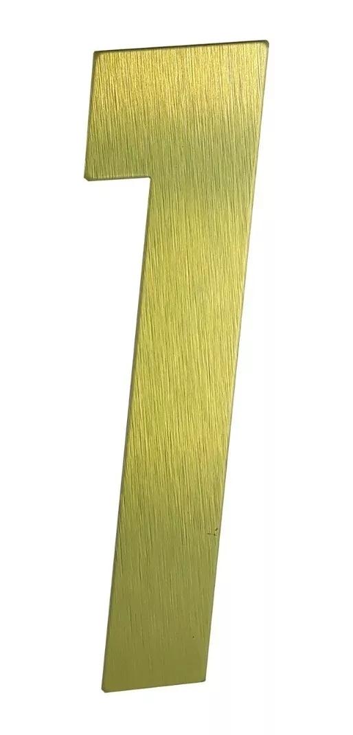 Número Residencial Em Metal Dourado Escovado Dupla Face