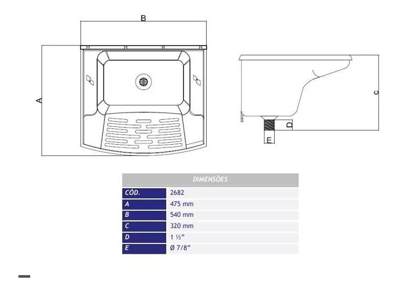Tanque De Lavar Roupa Branco Plástico 24 Litros