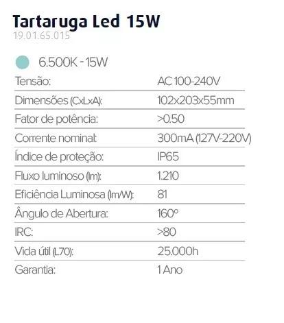 Luminaria Tartaruga Led Sobrepor Branca 15w 6500k Ip65 Biv