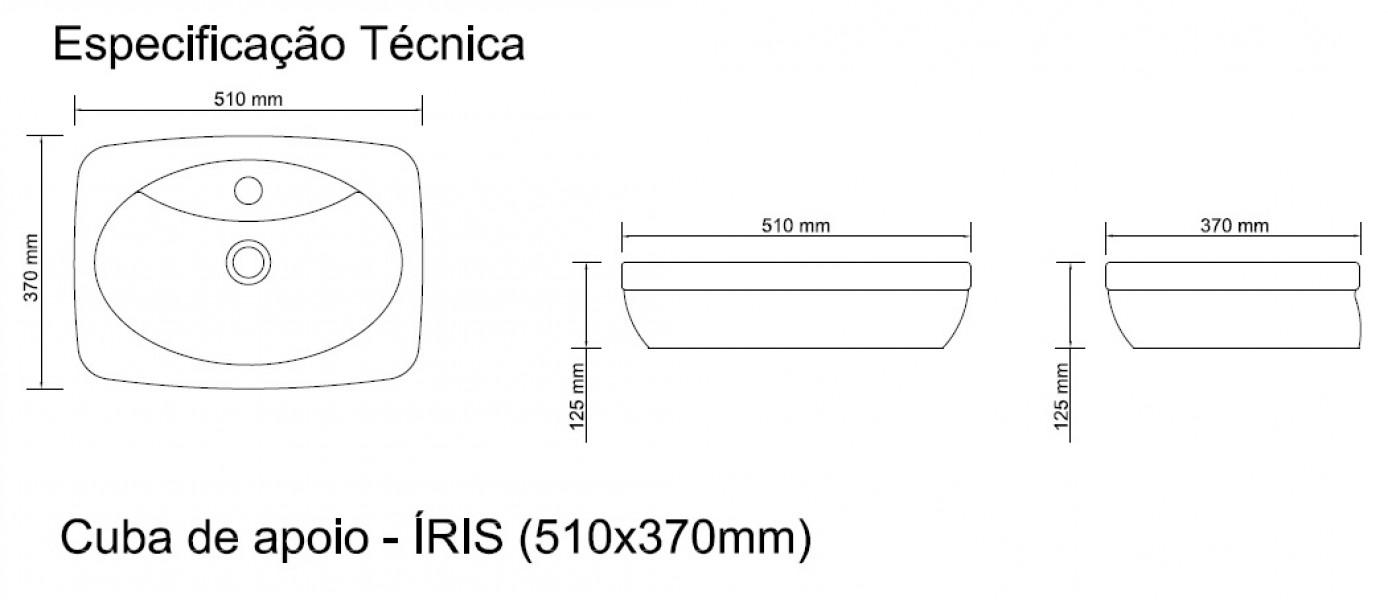 Cuba De Apoio Com Mesa Louça 51 Cm X 37 - Íris (onix)