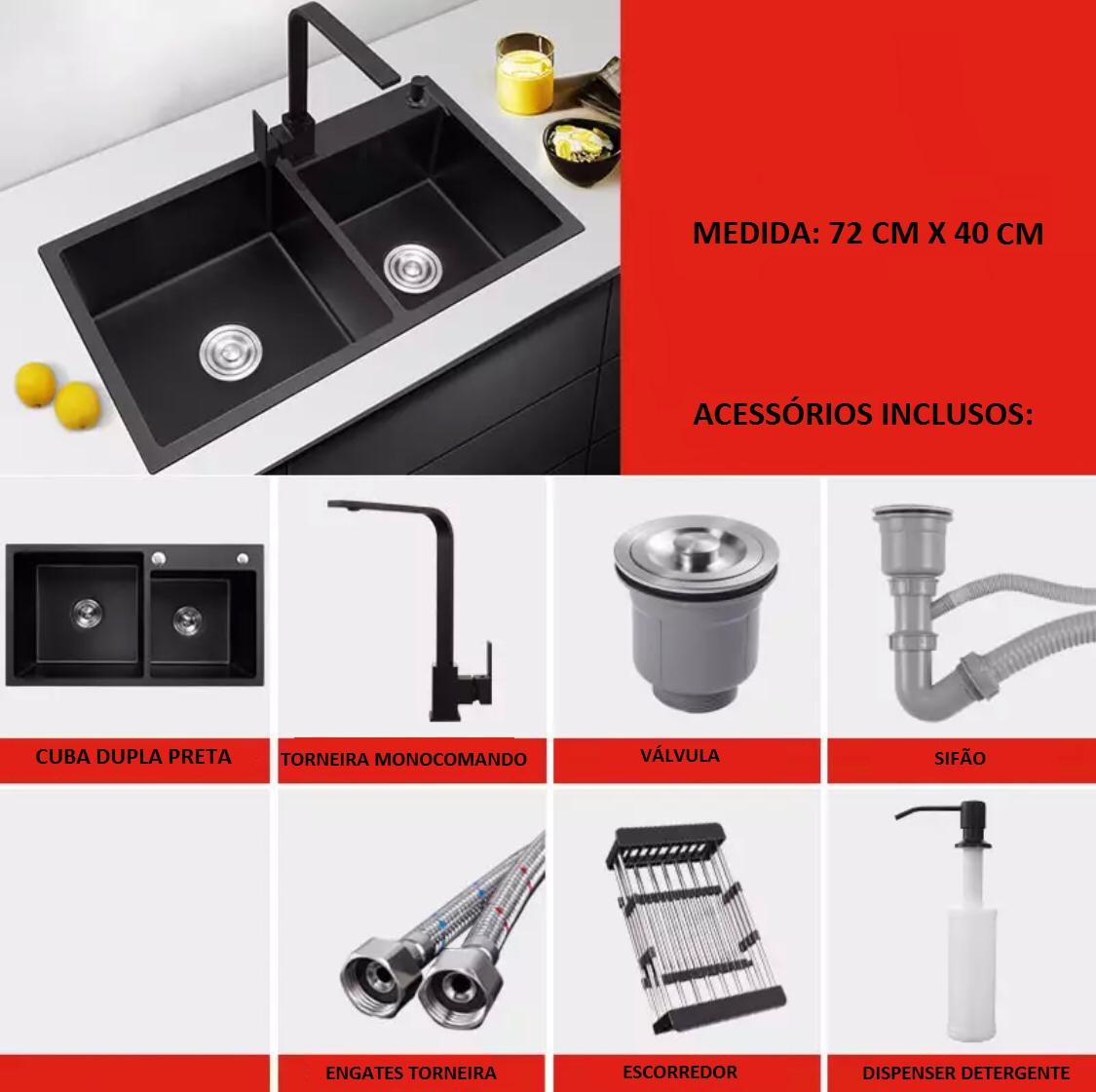 Kit Cuba Pia Dupla Aço Inox 304 Preta Cozinha E Acessórios