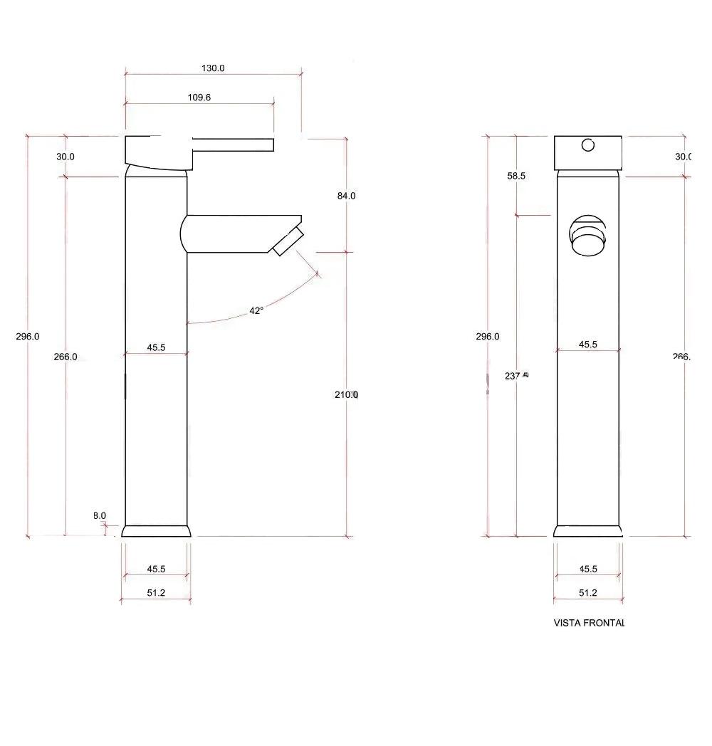 Torneira Banheiro Monocomando Misturador PRETO Torre Alta