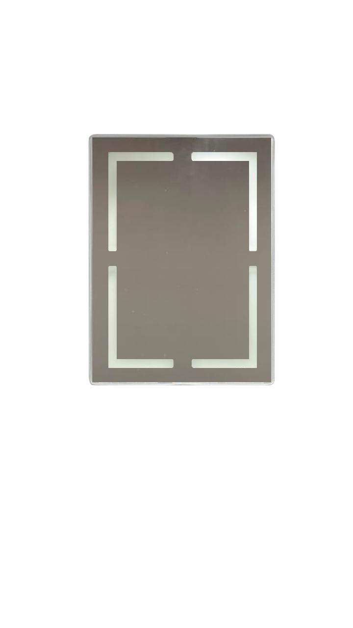 ESPELHO RETANGULAR COM LED TOUCH MARROM SOBREPOR - 80 CM