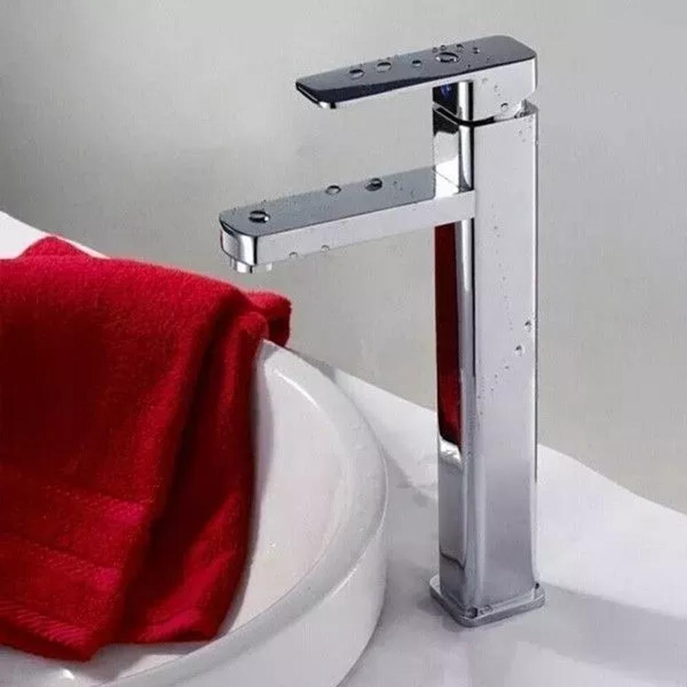 Torneira Monocomando Banheiro Quadrada Lavabo Bica Alta