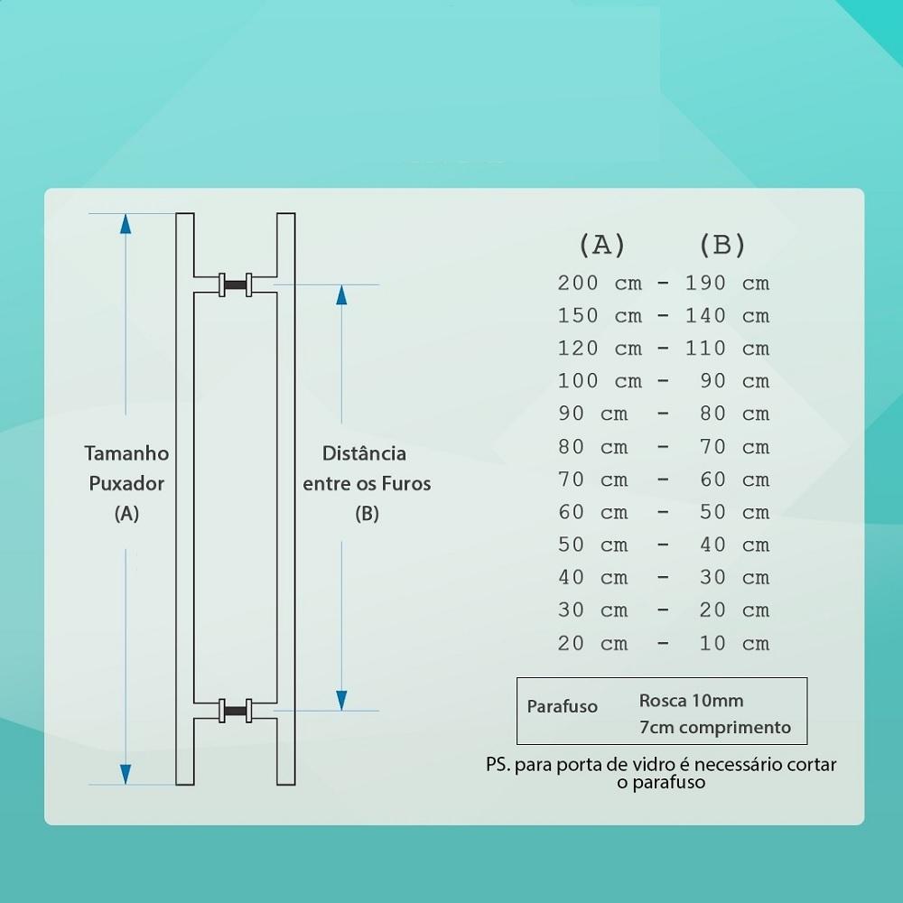 Puxador barra chata reto Luxo 4x1 maciço escovado