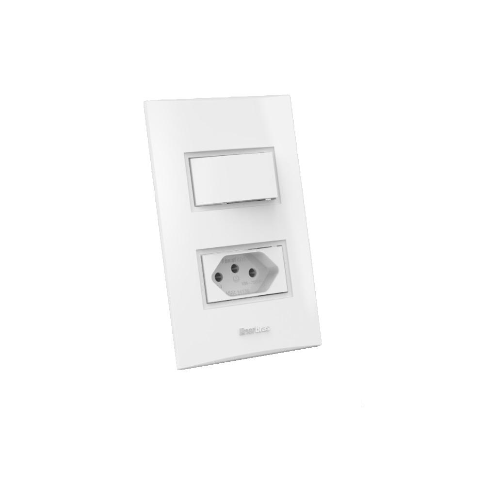 1 interruptor paralelo + tomada 10A linha beleze - Branco