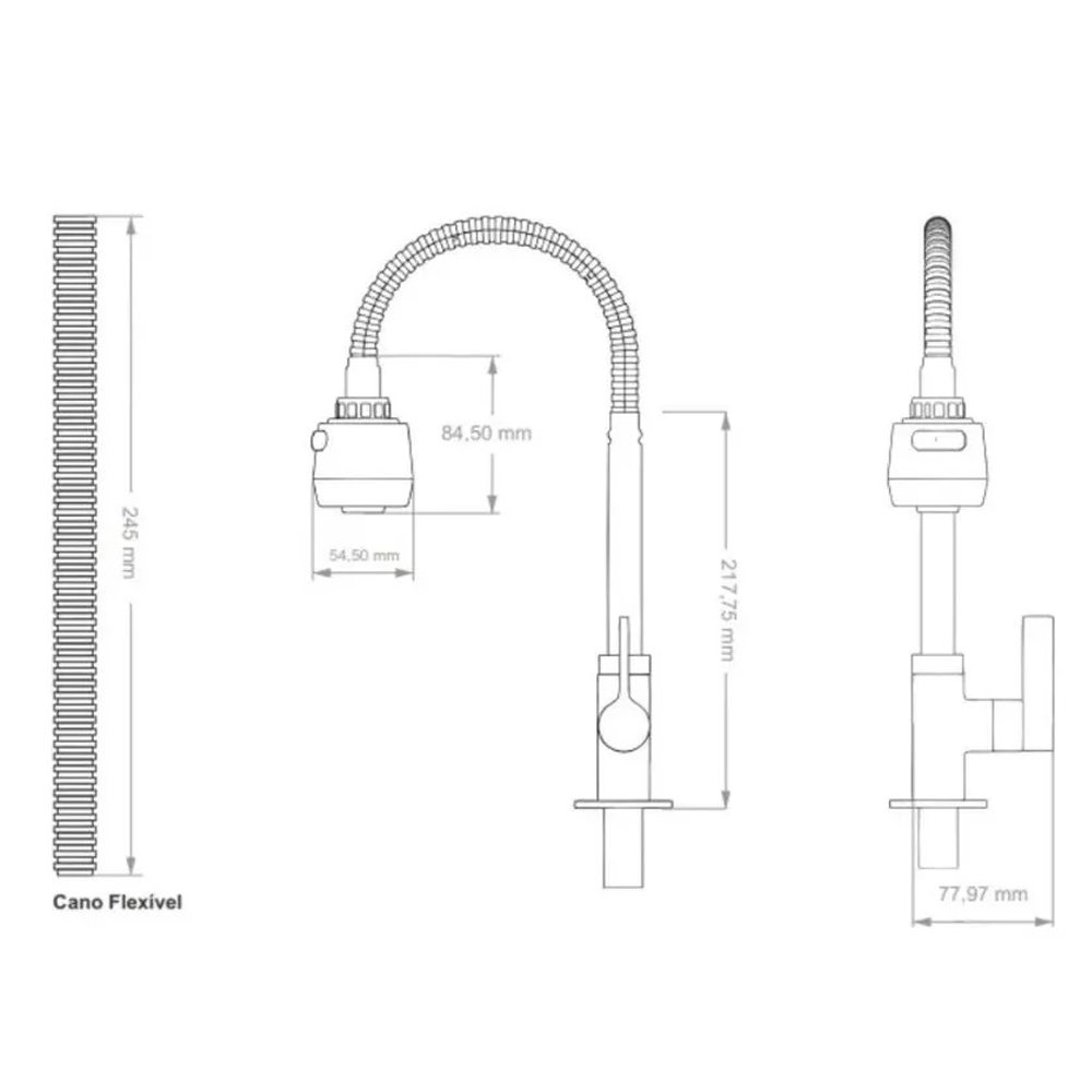 Torneira Flexível Gourmet Bancada 1/4 Volta Metal Soft Inox