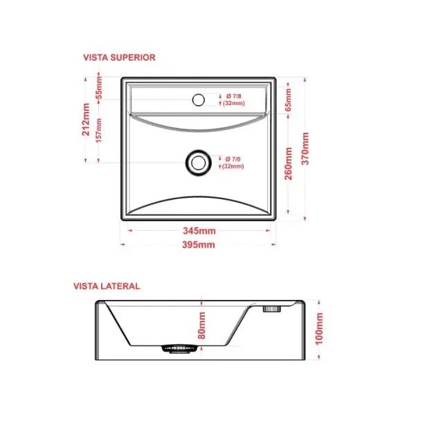 Cuba de apoio banheiro marmore sintético Genova 41x41