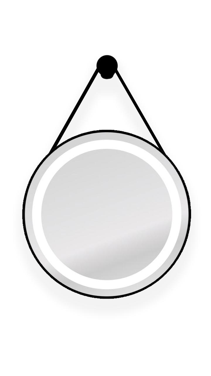 ESPELHO ADNET COM LED TOUCH ALÇA PRETA - 60 CM