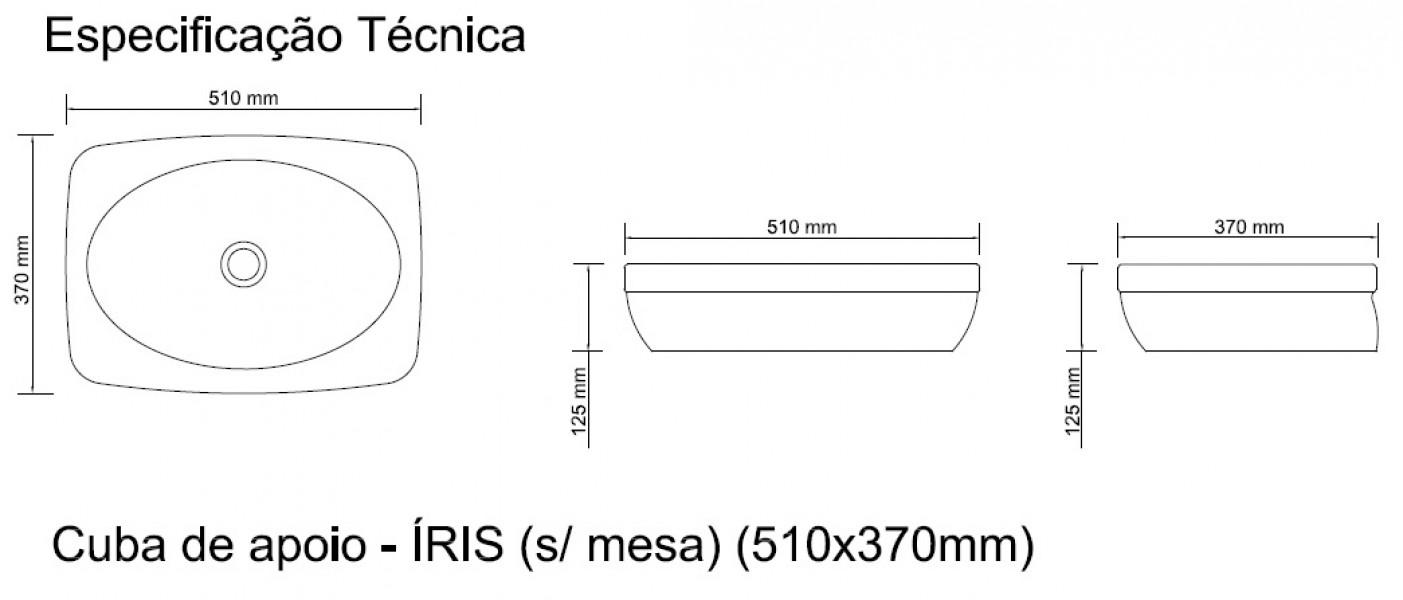 Cuba De Apoio Sem Mesa Louça 51 Cm X 37 - Íris (onix)