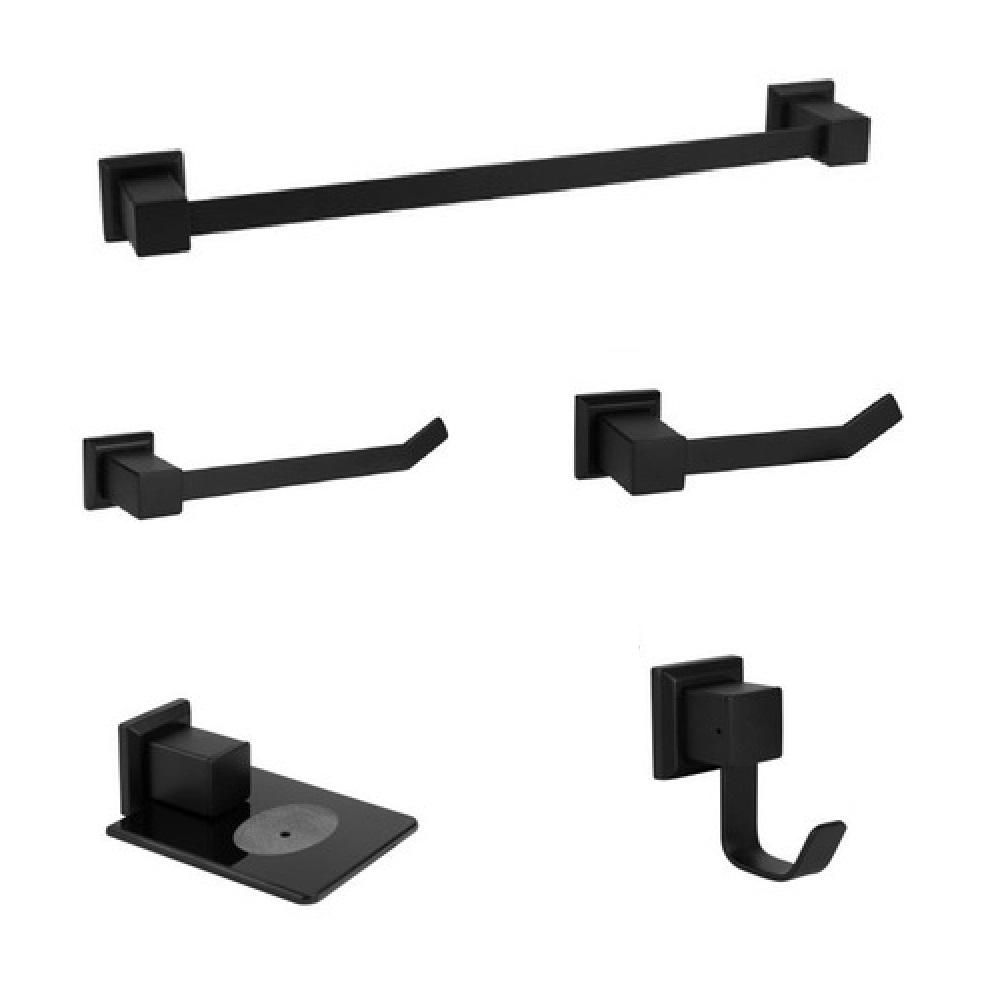 Kit acessórios para banheiro 5 peças em aço inox - PRETO