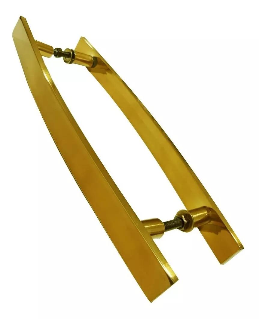 Puxador Para Portas Madeira / Vidro Alumínio Curvo Dourado