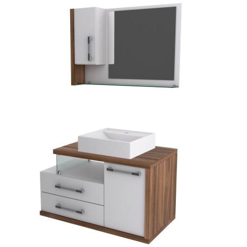 Gabinete Para Banheiro Com Espelheira E Cuba 850 Nogal