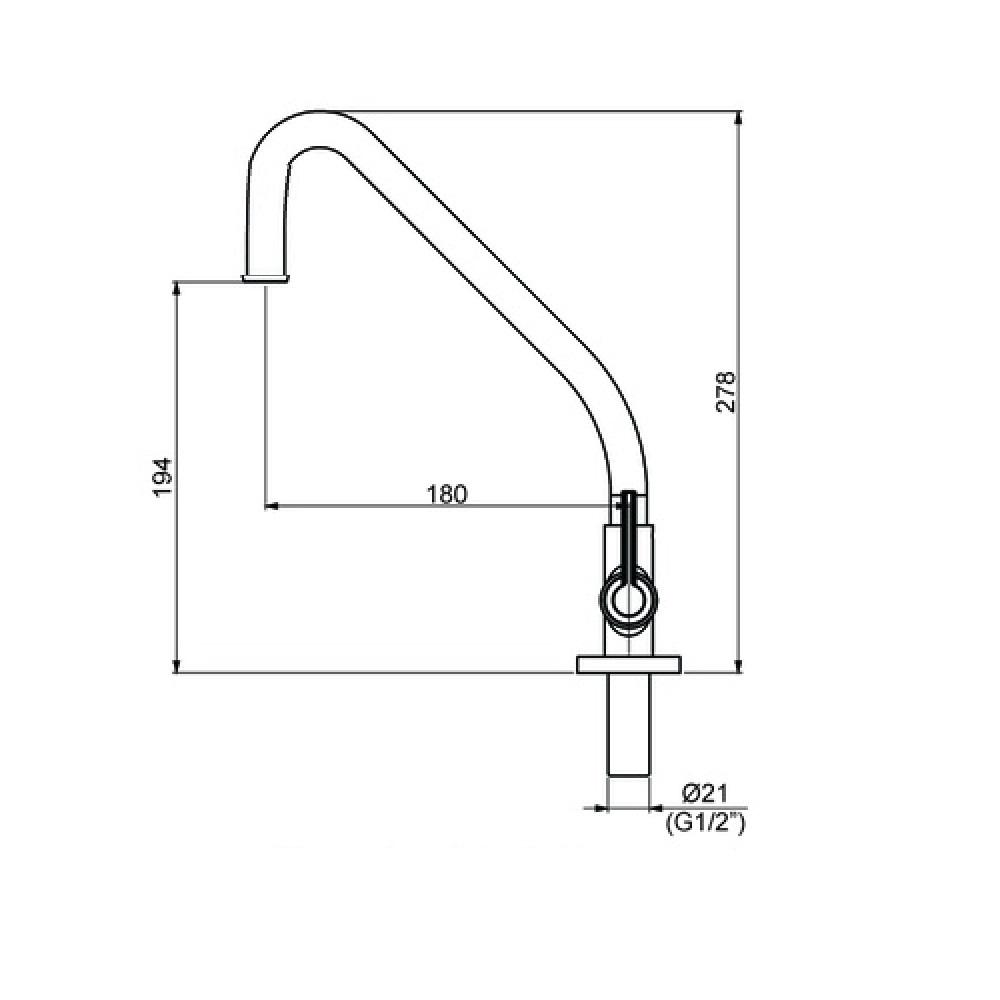 Torneira Para Cozinha 1/4 V De Mesa Metal Cromada 1168 C 61