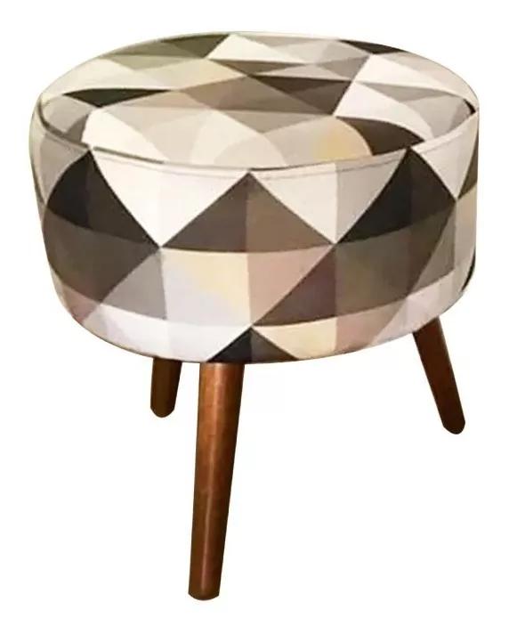 Puff Puf Decorativo Lavínia Mosaico Redondo