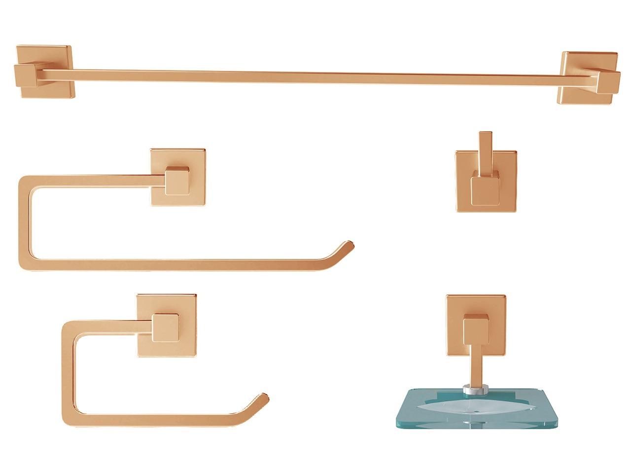 Kit Acessórios P/ Banheiro Metal 5 Peças Luxo Quadrado color
