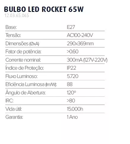Lâmpada Led Bulbo Led Rocket 6500k Branco Frio 65w Galpão