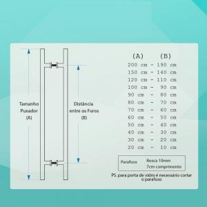 Puxador barra chata reto Luxo 4x1 maciço Polido