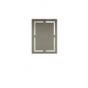 ESPELHO RETANGULAR COM LED TOUCH PRETO SOBREPOR - 80 CM