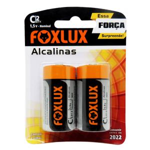 PILHA ALCALINA MEDIA C FOXLUX ORIGINAL BLISTER 2 UNIDADES