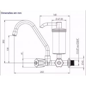 Torneira De Metal Com Filtro Cozinha Parede 1/4 Volta C70