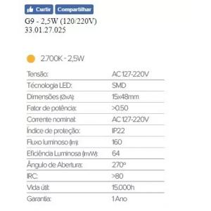 Lâmpada Led Halopin G9 2,5w Quente Makled 1 Ano Garantia