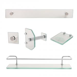 Kit Acessórios Para Banheiro De Vidro Para Banheiro Incolor/Fumê