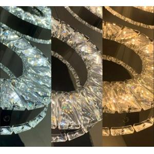 Lustre Cristal E Inox 3 Tres Anéis Quadrado 3 Cores