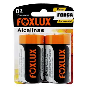 PILHA ALCALINA GRANDE D FOXLUX ORIGINAL BLISTER 2 UNIDADES