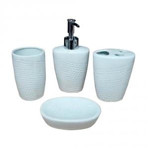 Kit Banheiro Lavabo Porta Sabonete Líquido Porcelana