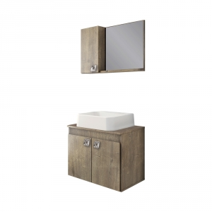 Gabinete Armário Banheiro Essenza Pia Quadrada Branco 550