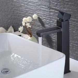 Torneira Monocomando Banheiro Quadrada Lavabo Alta - PRETA