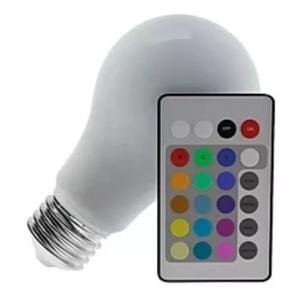 LAMPADA BULBO RGB 3,5W VARIAS CORES COM CONTROLE REMOTO