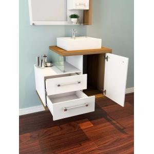 Gabinete P/ Banheiro Completo 650 C/ Cuba E Espelheira