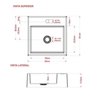 Cuba de apoio banheiro marmore sintético FERRARI 35X35