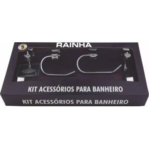 KIT ACESSÓRIOS P/ BANHEIRO METAL CROMADO 5 PEÇAS QUADRADO RAINHA